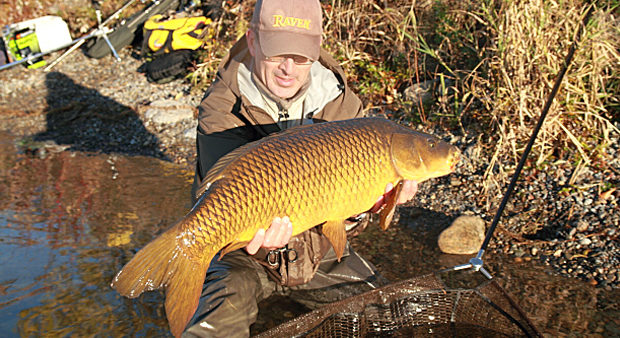 man holding a carp on the shoreline