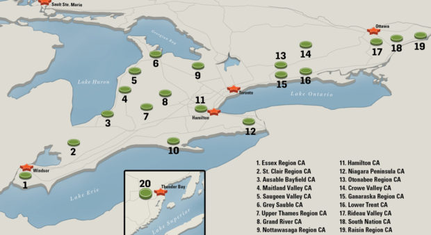 opportunity - a map of Ontario conservation areas that can be hunted