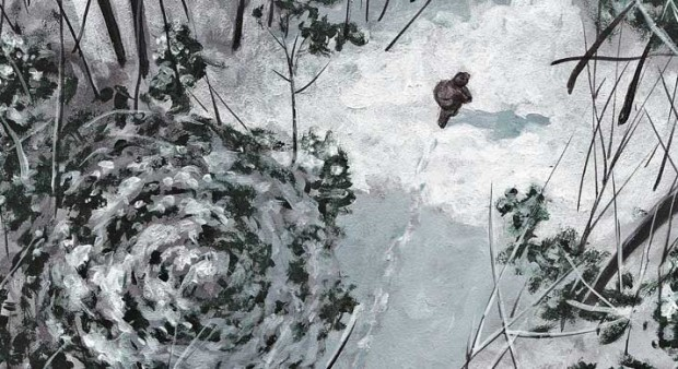 trapper's true story - illustration of a man walking in snow