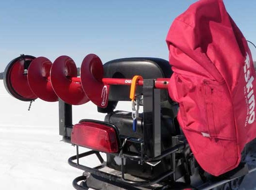 ice auger on a snowmobile