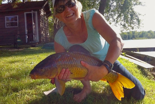Lezlie Goodwin with carp.
