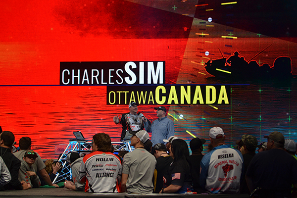 Charles Sims on stage at Bassmaster Classic