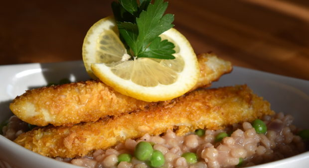 corn flake walleye with risotto
