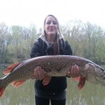 Brianna Van Niekerk caught this pike on just a worm, hook and sinker in the Nottawasaga River in Wasaga Beach last spring.