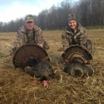 A teambuilding moment between David Rock and his boss, David Beilhartz. Rock bagged a young jake and Beilhartz got a 20.5-pound gobbler. They were hunting at Grey Bruce Outfitters in Walkerton.
