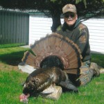 Don Richard, 68 years of Renfrew Ont. shot this gobbler May, 06/2014.I shot him on the fly at approx. 25 yards with a 12 gauge, 3 1/2 #5 Turkey Shot. Weighed in at 21 1/2lbs, 9 inch beard, 7/8in. spurs