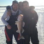 Fiore Russo,Fernando Zammito, and Vince Zammito during a fishing trip to Cosy Cove Cottages on Lake Nippissing. Russo caught this 24 ½-inch walleye. One of the many the group iced.