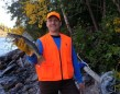 """Glenn Fabello caught this one on a break. """"The guys and I went moose hunting in Armstrong Station, ON last year. Mid-day we would fish for walleye, travelling 70 km into the woods for this perfect spot."""""""