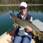 After a long trek through Lady Evelyn Provincial Park, Lynn Foley was rewarded with this lake trout.