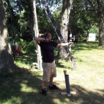 First time shooting a bow for Nicholas.