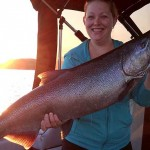 Josh Baker finally got his girlfriend, Sandy Holmes, out in the boat fishing with him and this is what she reeled in. Josh said she fought this 21-pound salmon to the boat by herself.