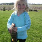 Rayah, 2 ½ landed this 12-inch perch with the help of her Dad on Mothers Day while fishing at Point Abino on Lake Erie.