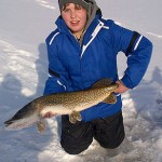 "Scott Rice, 14, caught this 35.5"" Northern Pike through the ice. It was caught in Cambridge at Shades Mill Conservation Area."