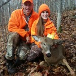 Jamilyn Hall with her dad Ken on Nov. 2. It was her first deer – 120 lbs – in WMY 57.