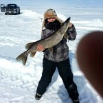 Kaitlyn Rose of North Bay was ice fishing on Lake Nipissing recently when she caught this northern pike, weighing 13 pounds and stretching out 36 inches. It the largest fish she ever caught.