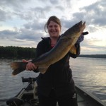 Stephanie Robar with her 15 lb 8 oz monster Walleye caught on Lake Scootamatta.