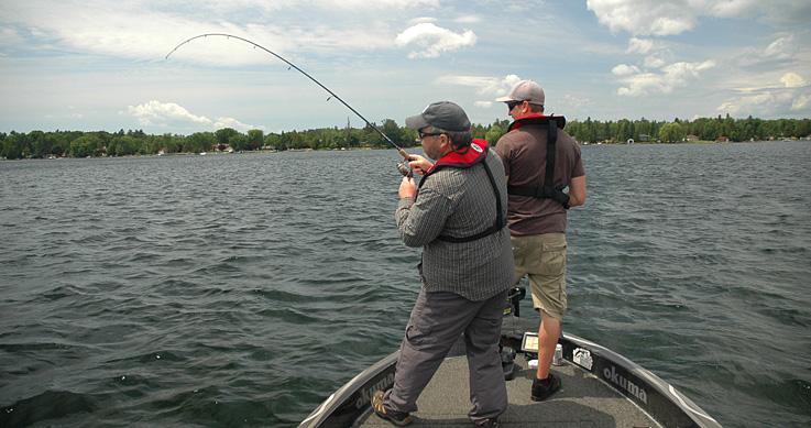 walleye hotspots - two guys fishing in a boat