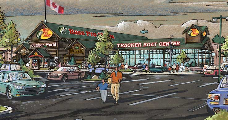 ottawa suburb - illustration of a new Bass Pro store