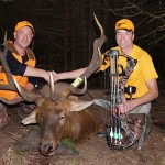 Robert Giugovaz (left) and Scott Holland with Holland's elk.