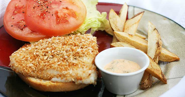 Grilled pike sandwich