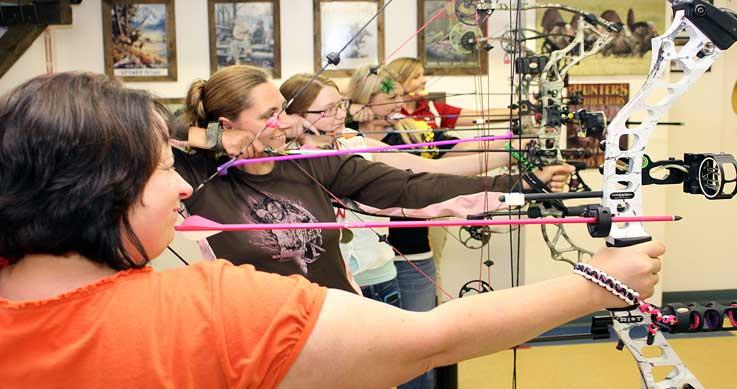 archery ranges - bows drawn