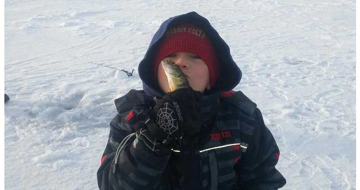 8-year-old Kolton's first time ice fishing for perch on beautiful Lake Simcoe