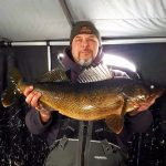 Dan Berndt, avid fisherman, iced this walleye on Lake Wanapitei. Weighing in at 14 ponds, this was a personal best.